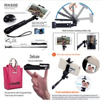 Wholesale Timer Camera Holder - RK85E 7 in 1 Extendable Bluetooth Wireless Selfie Stick Handheld Holder Bluetooth Monopod Shutter Self Timer For iphone Samsung Gopro Camera