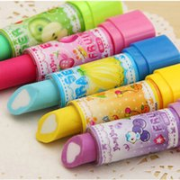 Wholesale Pencils Rubbers Cartoon - Eraser material escolar rubber Kid Child Gift lipstick erasers school supplies stationery cartoon cute lipstick rubber free shipping TY1060