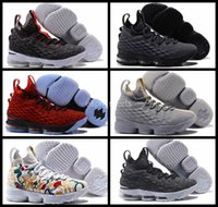 Wholesale Lebrons 12 - 2017 New Air Lebron 15 Men Basketball Shoes LBJ Lebrons James 15 Black White Sneakers basket ball Retro Trainers Sports Shoes 7-12
