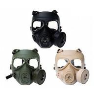 savaş maskesi toptan satış-Gaz Maskesi Kimyasal Anti-Toz Boya Maskesi Airsoft Taktik Wargame Maske Yerleşik Fan Cosplay Maske Ücretsiz Kargo