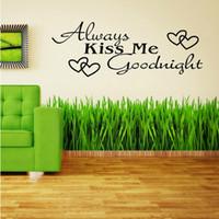 vinyl wandabziehbilder kuss gute nacht groihandel-2014 neue wohnkultur abnehmbare aufkleber immer küssen mich gute nacht vinyl wandtattoo kunst tapete versandkostenfrei