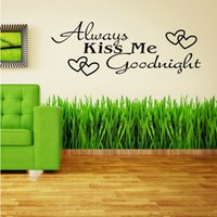 Wholesale free wallpaper for walls for sale - Group buy 2014 New Home Decor Removable Stickers Always Kiss Me Goodnight Vinyl Wall Decal Art Wallpaper