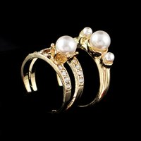 Wholesale Three Stone Pearl Ring - Luxury Trendy New Fashion Anel Vintage Couple Imitation Pearl Rings Set For Women Accessories