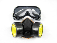 Wholesale Gas Masks Cheap - Cheap Double Gas Mask protection filter Chemical Gas Respirator Face Mask with Glasses
