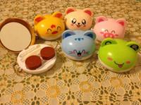 étui à lentilles de contact pour animaux achat en gros de-2015 2016 New Hot Cute Cartoon Animaux Styles Lentilles De Contact Case Boîte Lens Companion Box En Gros