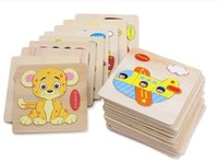 Wholesale block jigsaw puzzles - Baby 3D Wooden Puzzles Educational Toys For Child Building Blocks Wood Toy Jigsaw Craft Animals Free Shipping