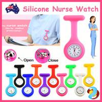 krankenschwester fob uhren freies verschiffen großhandel-Silikon-Krankenschwester-Brosche-Tunika-Taschenuhr-Krankenpflege-Krankenschwestern-hängenden Taschen-Uhr-freies Verschiffen Fob Watches Krankenschwester-Uhr