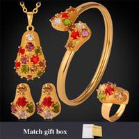 vergoldeter kostümschmuck großhandel-Luxux 18K Gold überzogene Kostüm-Schmucksache-Sätze Mulit färbt Rhinestone-Schmucksache-Geschenk mit Kasten für Frauen Freies Verschiffen YN1197