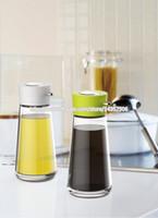 Wholesale Glass Oil Cruets - 5.5 oz Lead Free Glass Oil and Vinegar Push Button Dispenser Dripless Glass Soy Sauce Cruet Pot Black White Orange Green