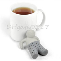 best herbal teas al por mayor-Cute Funny mejor para Relajante vida! Mr. Tea Infuser Tea Leaf Tamiz del té de silicona bolsa de té de té coladores Café Té Establece Herbal especia Filtro