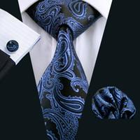 Fast Shipping Mens Tie Blue Paisely Silk Hanky Cufflinks Set Jacquard Woven Silk Mens Tie Set Business Work Formal Meeting Leisure N-0981