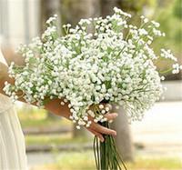 respiração de bebês de flores artificiais venda por atacado-Chegam novas Gypsophila Bebê de Respiração Artificial Flores de Seda Falso Planta Decoração de Casamento Em Casa