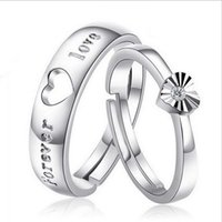 Wholesale Couples Heart Rings - S925 Silver Lovers ring Korean jewelry lovers ring love ring opening Valentine's Day gift to send his girlfriend a gift