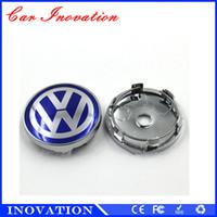 Wholesale Volkswagen Blue - Car Sticker VW Passat Blue Logo Black Logo 60mm Size Car Wheel Center Cap