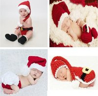 Wholesale Toddler Crochet Santa Hat - Retail Baby Boys Girls Crochet Christmas Costume Hat Diaper Cover Pants Set Newborn Baby Photo Props Infant Toddler Santa Photography Props