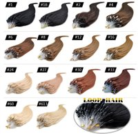 "Wholesale Micro Loop Indian Virgin - Micro Loop Remy Hair Extensions 18"" 20"" 22"" 24"" Indian Virgin Hair Straight Keratin Hair 50g lot 0.5g strand 13 Colors"