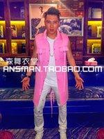 costume costume galinha venda por atacado-Queda-Custom! Novo cantor masculino DJ boate DS Beyonce frango picante com parágrafo hip-hop trajes do partido longo casaco cor de rosa
