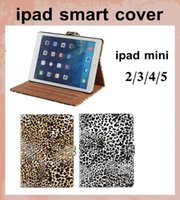 Wholesale Ipad Mini Case Magnetic Dhl - Magnetic Smart Case Cover Leopard Print PU Leather Case for Apple iPad Mini ipad 2 3 4 5 air with Stand sleep wake function dhl free PCC037