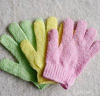 Wholesale Bath Shower Glove - Mixed Color Exfoliating Glove Skin Body Bath Shower Loofah Sponge Mitt Scrub Massage Spa Factory Price A015