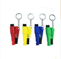Wholesale Wholesale Yellow Whistle - Four colors 3-in-1 Whistle Seat Belt Cutter Window Break Keychain Automotive safety hammer