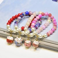 Natural Stone Bead Chain Bracelet Cute Ceramics Lucky Cat Pendant Bracelet Atacado Good Gift for Women Girl Fashion Jewelry