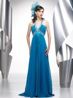 Wholesale Crytal Long Prom Dress - Crytal V Neck Dresses Party Evening with Empire Waist Beaded Elegant Prom Gowns 2015 Sweep Train Long Chiffon Blue Evening Gowns