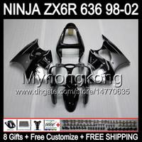 ingrosso nero ninja d'argento-8Gifts + Body Silver nero Per KAWASAKI NINJA ZX6R 98-02 ZX636 ZX 636 MY31 ZX-6R ZX 6R 98 99 00 01 02 1998 1999 Argento 2000 2001 2002 Carena