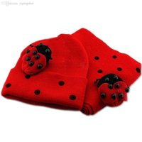 Wholesale ladybird ladybug online - Big Promotion Red Baby Boy Girl Toddler Winter Ladybird Ladybug Hat and Scarf Set