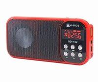 arroz conduzido venda por atacado-Display LED USB Cartão Micro SD MP3 FM Rádio Tocha Digital Speakers Hi-Rice SD-102