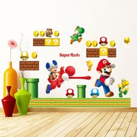 Wholesale Mario Decals - 50*70cm Free Shipping New Super Mario Bros Kids Removable Wall Sticker Decals Nursery Home Decor Vinyl Kids Baby Rooms Wall Stickers