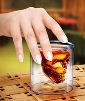 Wholesale Wholesale Tea Cups Wedding - Magic Transparent Glass Skull Mugs Coffee Cups Bilayer Bar Wine Beer Drinkware Gift Tea Cups 4Size Whiskey Cup