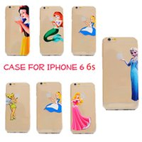 Gros-New TPU Elsa Mermaid Princess Blanche Neige souple en silicone Retour Housse coque capa para Apple iPhone 6 i6 4.7 ''
