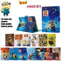 Wholesale Despicable Ipad Mini - minions ipad mini case 16 styles cartoon Despicable Me 2 Minion Flip Wallet Stand Leather Cases Smart Cover For ipad mini 3 mini 2 mini1