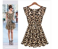 Wholesale Leopard Night Gowns - European and American fashion nightclub sexy leopard sleeveless round neck dress