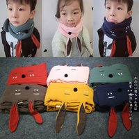 Wholesale Polka Dot Baby Blanket - 7 Colors Kids Plaid Blanket Scarves Scarf Fashion bunny rabbit Ears Warm Neckerchief Autumn Winter Baby Scarf Shawl Accessories A7960
