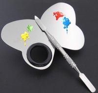 Wholesale Favor Art - New Arrival Stainless Steel Makeup Mixing Palette Nail Art Nail Art Eye Shadow Mixing Palette Spatula Beauty Cosmetic