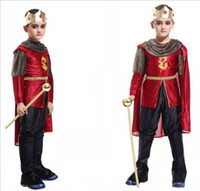 Wholesale Teenage Suits For Boys - Retail Halloween Costumes for Kids Boys Chirstmas Prince King Cosplay Costume Children King Costumes Suit Set Full Children's Costume H