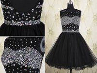 Wholesale Cheap Shiny Party Dresses Short - Little Black Dresses Prom Crystals Sequin Beading Open Back Cheap Price Short Mini Formla Party Gown Backless Sexy Design Sparked Shiny Gown