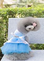 Wholesale Dog Flower Dresses - B17 Dog Summer Dot Tulle bubble skirt dress - Flower & bowknot design Summer dog Clothing sweet summer dress