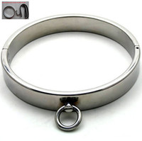 Wholesale Steel Slave Collar Neck Ring - Slave Toys Men BDSM Metal Neck Collar Sex Restraint Necklet With Lock Joints Adult Games Stainless steel Neck Ring Male Gay Sexual Tools