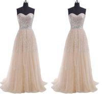 vestidos lilas para damas de honor al por mayor-EN STOCK 2019 Vestidos de baile largos baratos Lentejuelas Una línea de tul de tul con cordones Vestidos de dama de honor de fiesta de coral azul lila Vestidos de noche