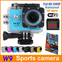 Wholesale Portable Helmet Video Camera - W9 Sport video camera full hd 1080p 170 degree Waterproof helmet sports camera DV Portable mini digital action camera 15pcs