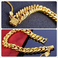 meilleure chaîne en or pour les femmes achat en gros de-24K Gold Filled Bracelets Vente Chaude Meilleur Cadeau Pour Hommes Et Femmes Top Qualité Lien, Chaîne Fine Jewelry Livraison Gratuite Limitée Prix de Gros