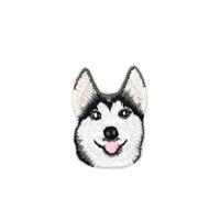 gestickte hundeflecken groihandel-10 Stück Husky Hund bestickt Patches für Kinder Kleidung Taschen Eisen auf Transfer Applique Patch für Jeans DIY Nähen auf Stickerei Aufkleber