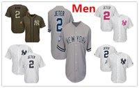 Wholesale Yankees Jersey Jeter - Mens Yankees 2 Derek Jeter Baseball Jersey Navy Blue White Gray Grey Green Salute Mothers Day Team Logo