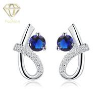 Wholesale Art Deco Silver Plated - Art Deco Earrings Silver Plated Earrings 6 Shaped Crystal Decorated Stud Earrings Flash Blue White Zircon Ear Studs Women Fashion Jewelry