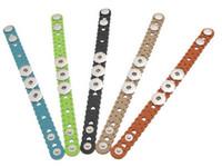 Wholesale Lace Bracelet Charm - 10pcs Wholesale Bracelets Buckle Hot New DIY Peach heart Wave Lace Fit Snap Press Buttons Real Leather 24cm  TD