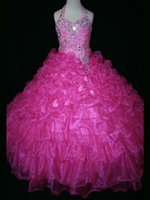 Wholesale Buy Pageant Dresses Girl - Fuchsia Beaded Halter 2015 Girls Pageant Dresses Princess Zipper Back Organza Ruffles Ball Gowns Buy 1 get 1 free Frozen Elsa Tiara YYE-38