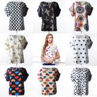 Wholesale Blouse Hearts - High Quality Heart Printed Summer Women Blouses Short Sleeve Chiffon Blouse Plus Size Blusas Femininas 2016 Tops Shirt Women