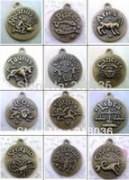 Wholesale Photo Frame Bracelet - 60 Pcs Antiqued Bronze Twelve Zodiac Constellations Photo Frame Pendants Fit Bracelets Necklace Men Jewelry Findings Girls Bijoux M646